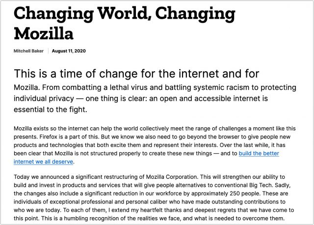 Mozilla's layoff announcement
