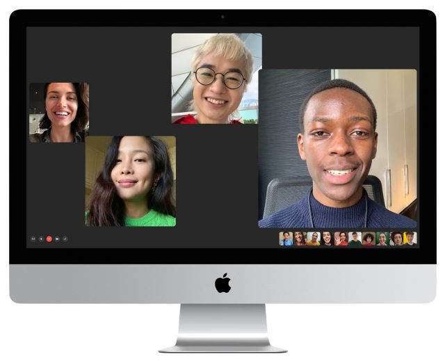 New 27-inch iMac showing a FaceTime call