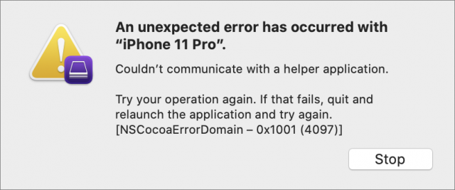 Apple Configurator 2 error dialog