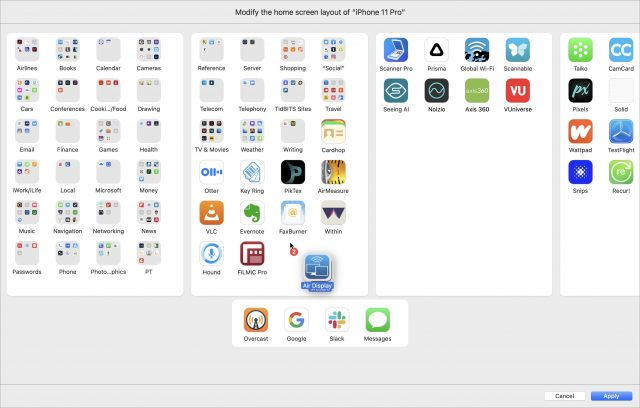 Rearranging apps in Apple Configurator
