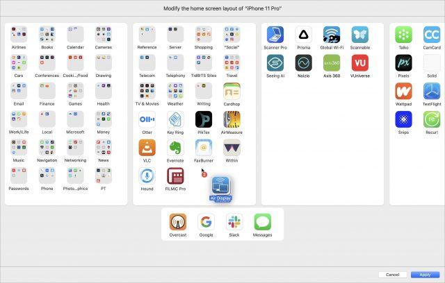 Rearranging apps in Apple Configurator