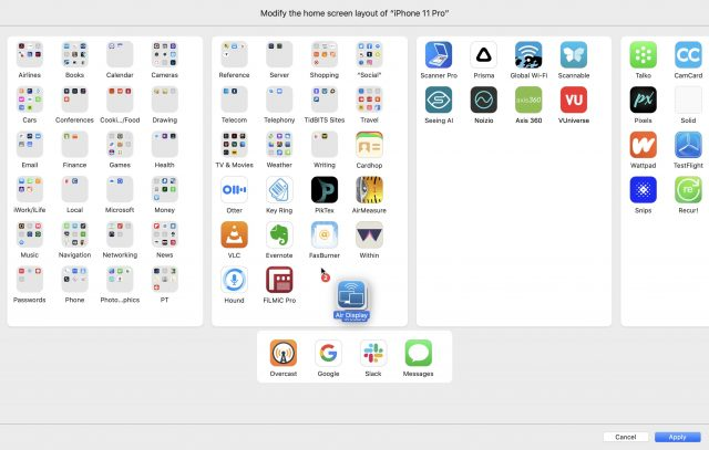 Apple Configurator 2 interface for modifying Home screen layout