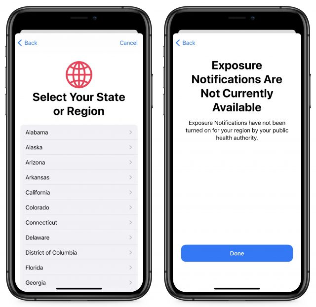 Selecting an Exposure Notification region