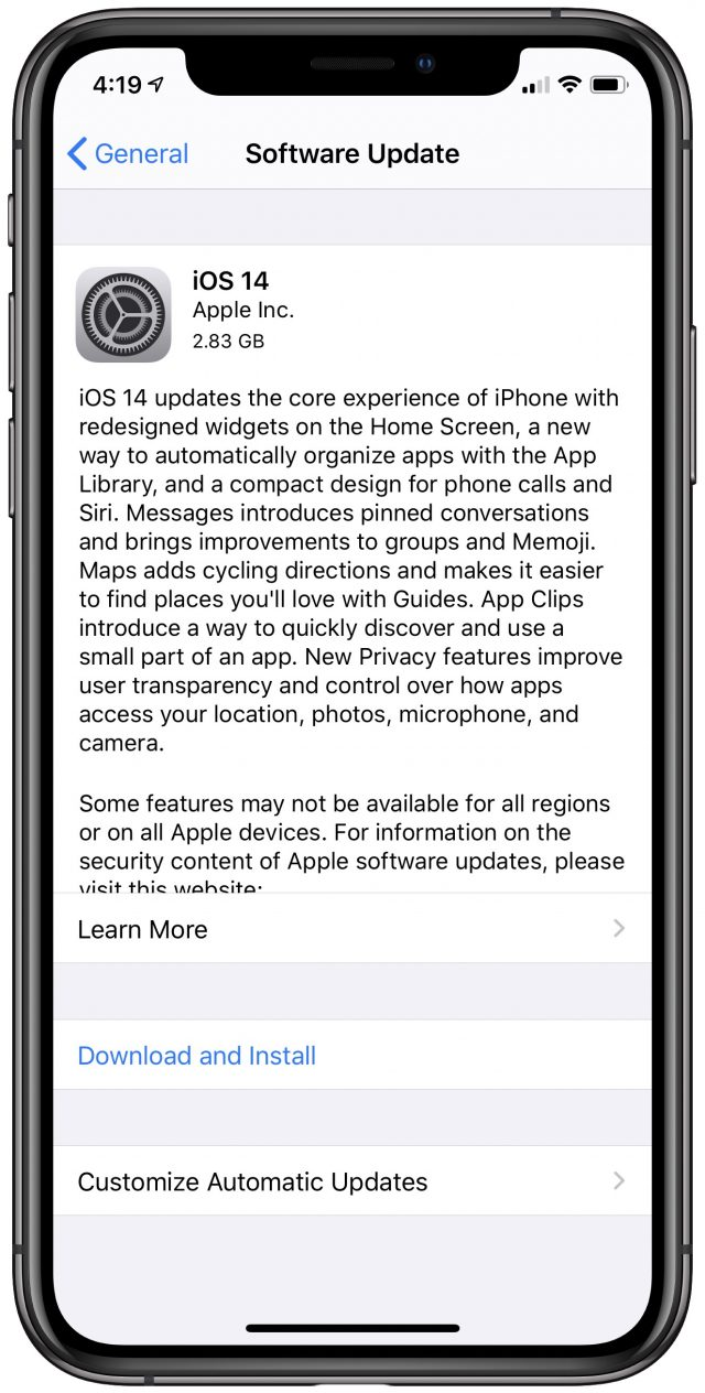 iOS 14-updatescherm