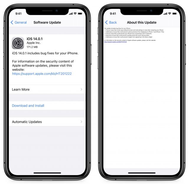 iOS 14.0.1 release notes