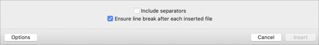 BBEdit 13.5's option for adding line breaks when inserting files