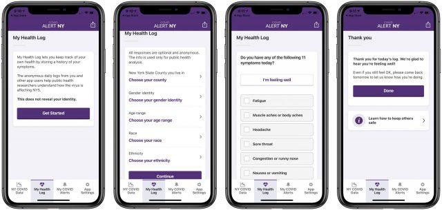 COVID Alert NY My Health Log screens