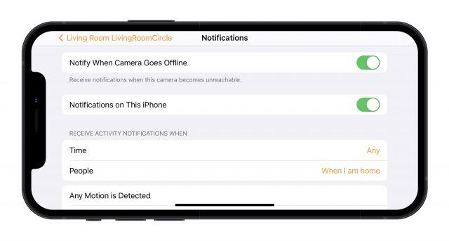 HomeKit camera notification settings