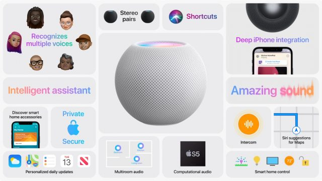 HomePod mini details slide from Apple presentation