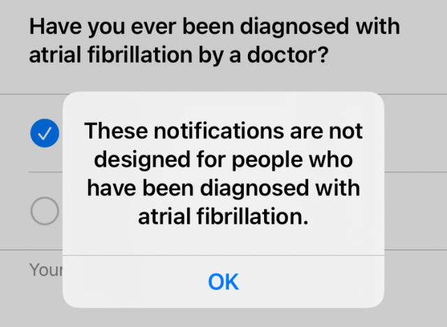 Notice that afib notifications aren't for people with afib