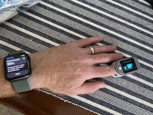 Comparing Apple Watch O2 against a finger sensor