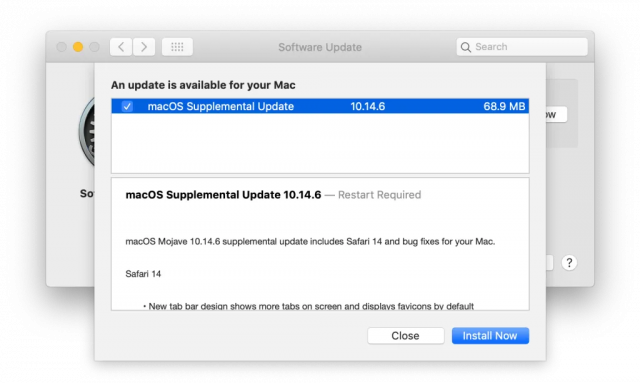 macOS 10.14.6 Supplemental update release notice