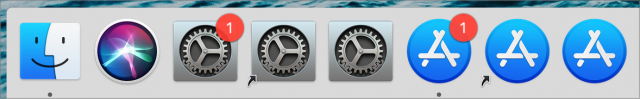Dock showing different solutions for avoiding badges