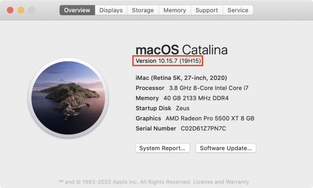 Finding the build number for the macOS Catalina 10.15.7 Supplemental Update