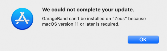 Evidence of a bad update package for GarageBand