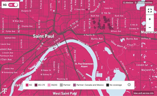 T-Mobile 5G map of St. Paul