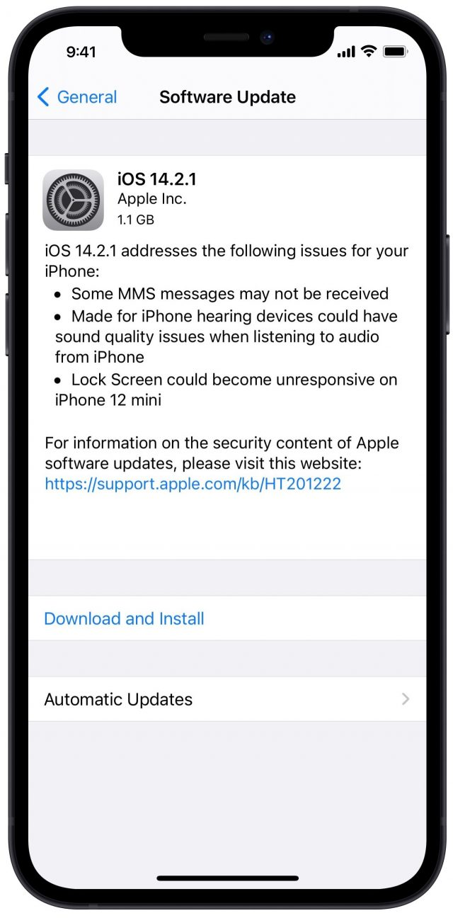 iOS 14.2.1 release notes