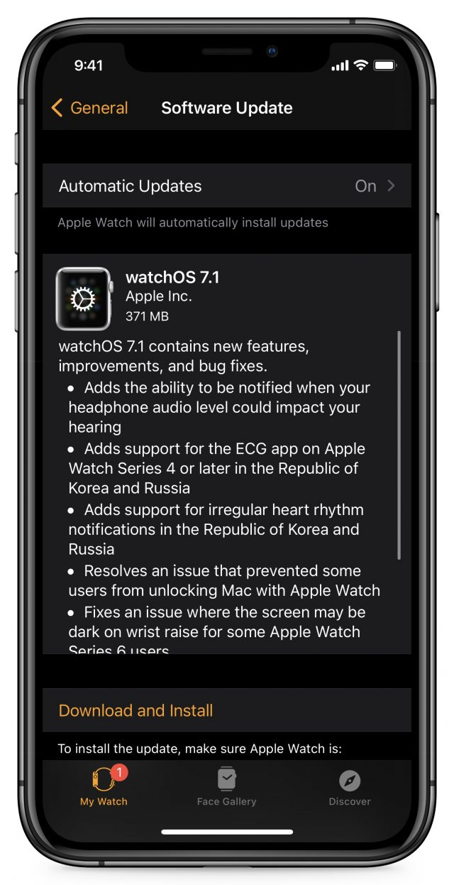 watchOS 7.1 release notes