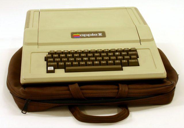 Apple II on a leather bag