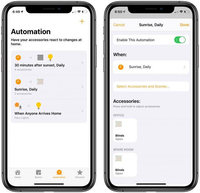 HomeKit Automation screens