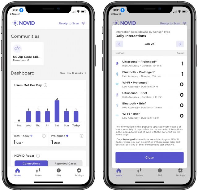 NOVID app showing users met