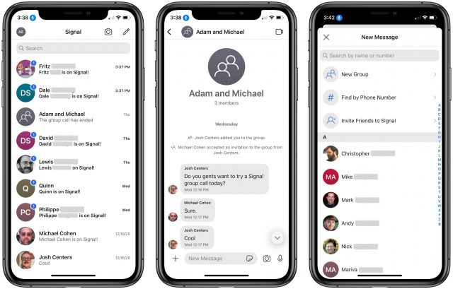 Signal chats, conversation, and invitation screen