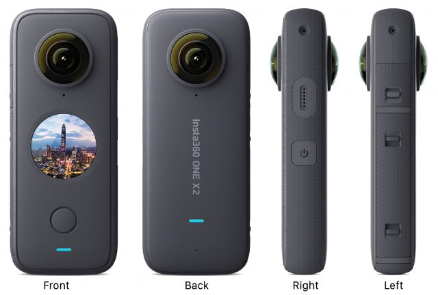 Front, back, and side views of the Insta360 ONE X2