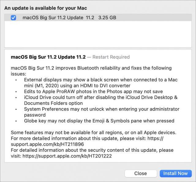 toelichting bij update macOS 11.2
