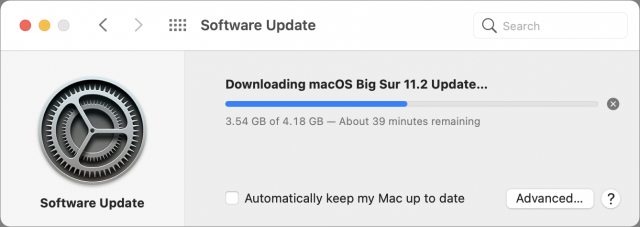 Downloading macOS 11.2 on M1