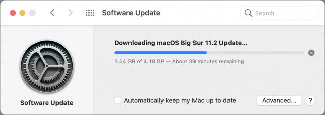 Downloading macOS 11.2 op Mac met M1 processor