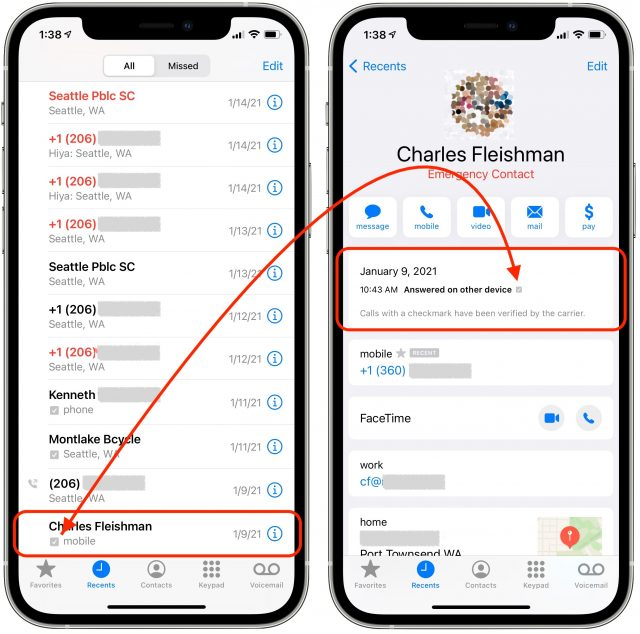 The STIR/SHAKEN checkmark in the phone app.
