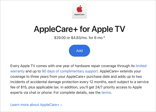 AppleCare+ for Apple TV