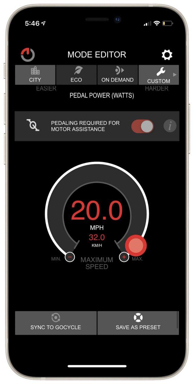 Gocycle speed setting