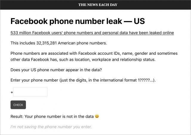 Facebook phone leak check