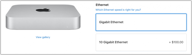 M1 Mac mini with 10 Gigabit Ethernet option