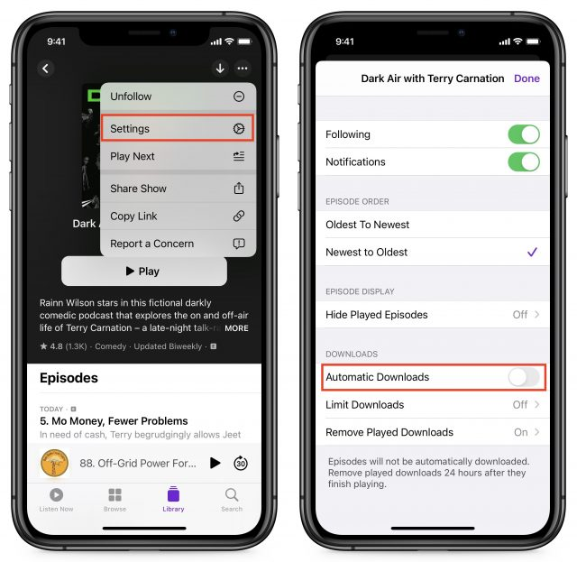 Turning off Automatic Downloads on iPhone