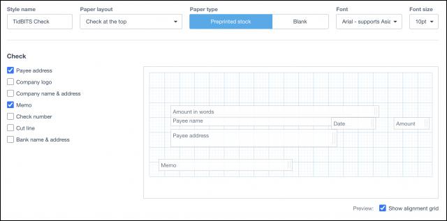 Xero check template interface