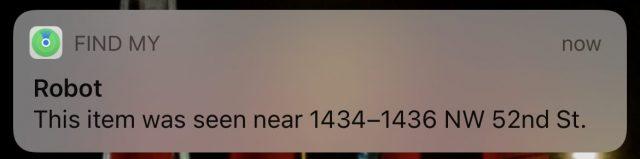 Find My notification