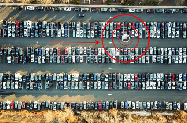 AirTag in a parking lot