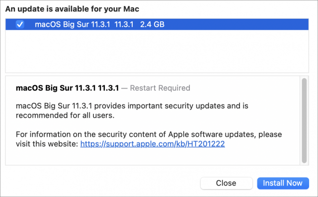 macOS 11.3.1 release notes
