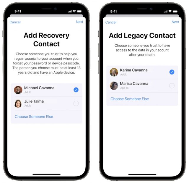 Recovery and Legacy contacts