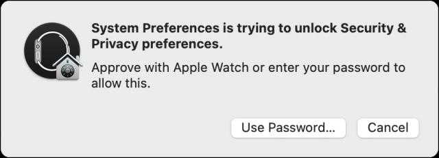 System Preferences Apple Watch approval