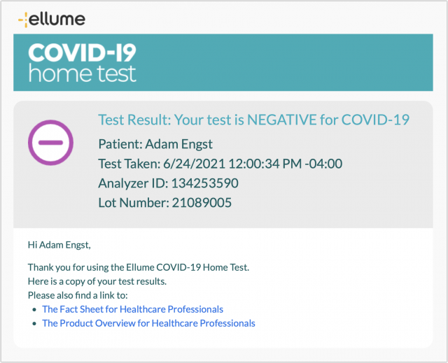 Ellume COVID-19 Home Test email results