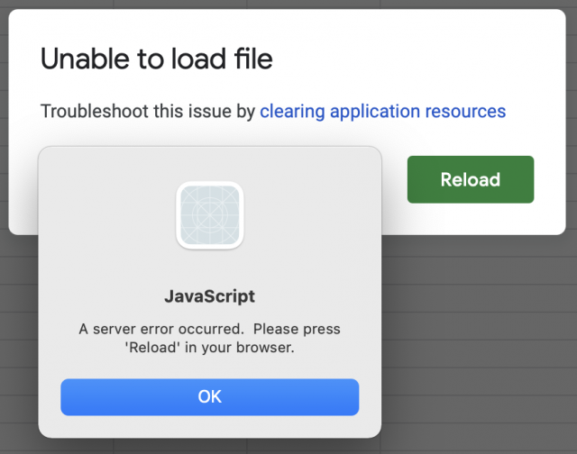 Google Sheets errors in Fluid