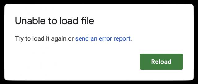Google Sheets error in Unite