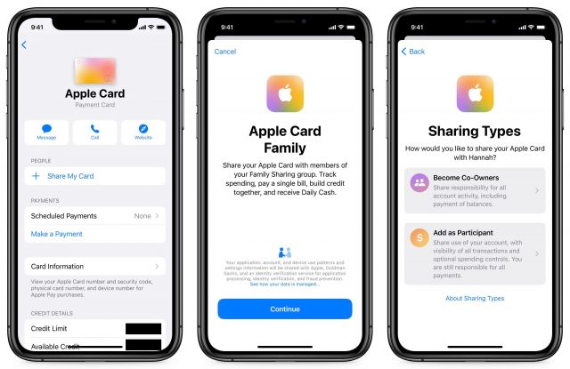Setting up a shared Apple Card