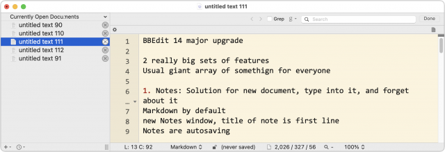 BBEdit 13.5.7 window with untitled documents