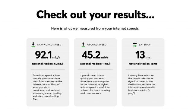 Internet survey speed test