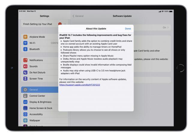 iPadOS 14.7 release notes