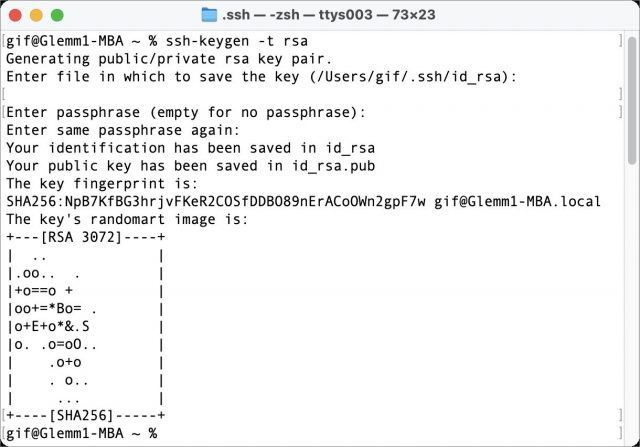 Generating SSH key